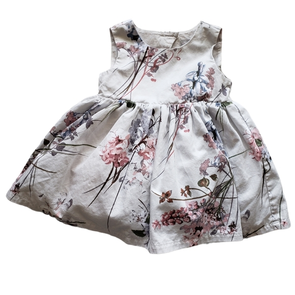4/$25 Gray and Pink Floral Dress 9-12 Months